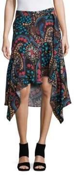 Context Paisley Print Asymmetrical Mock Wrap Skirt