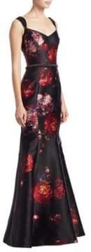David Meister Sleeveless Beaded Belt Gown