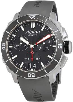 Alpina Seastrong Diver 300 Big Date Chronograph Black Dial Black Leather Men's Watch