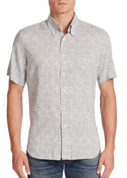 Billy Reid Tuscumbia Aquatic Print Button-Down Shirt