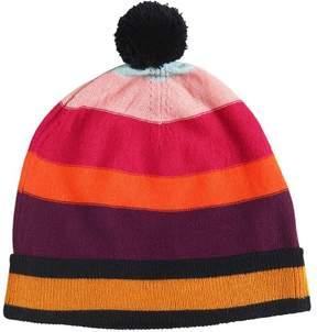 Sonia Rykiel Striped Wool Blend Knit Hat W/ Pompom
