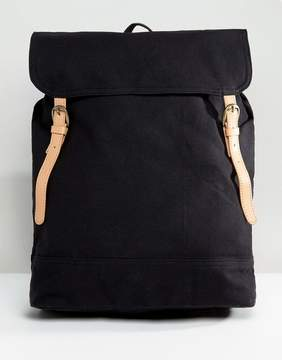 Asos Backpack In Black Canvas With Faux Leather Trims