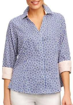 Foxcroft Petite Printed Spread-Collar Top