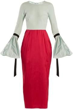 Emilio De La Morena Bi-colour balloon-sleeved silk dress