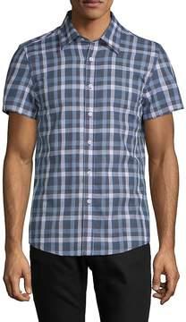 Hyden Yoo Men's Tyler Short-Sleeve Cotton Button-Down Shirt