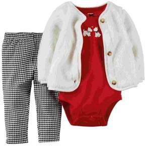 Carter's Infant Girls 3 Piece Scotty Dog Set Plush Jacket Shirt Leggings Set 12m