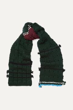 Prada Tasseled Wool Scarf - Green