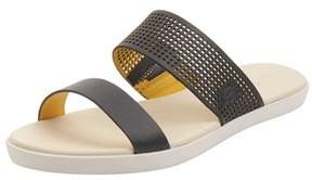Lacoste Womens Natoy Slide 216 Sandals In Navy/light Yellow.