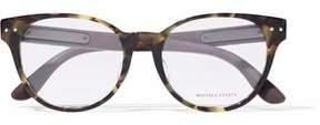 Bottega Veneta Cat-Eye Quilted Leather-Trimmed Tortoiseshell Acetate Optical Glasses
