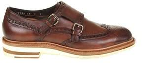 Santoni Men's Brown Leather Monk Strap Shoes.