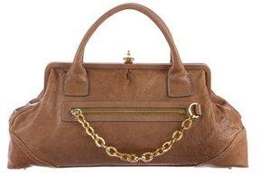 Herve Leger Leather Frame Handle Bag