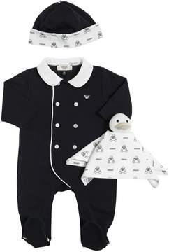 Armani Junior Cotton Jersey Romper, Hat & Toy Blanket