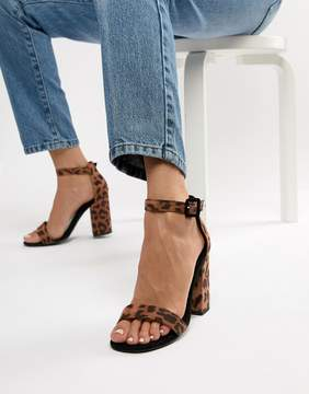New Look Leopard 2 Part Block Heel Sandal
