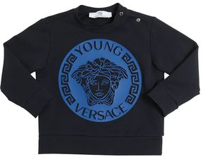 Rubberized Print Cotton Sweatshirt
