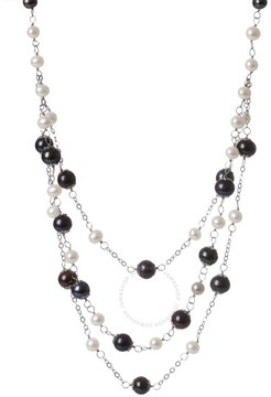 Bella Pearl Triple Row Black and White Freshwater Pearl Necklace