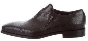 Cesare Paciotti Embossed Leather Square-Toe Loafers