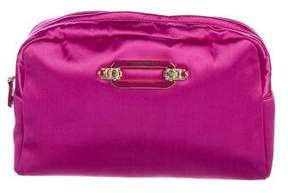 Jimmy Choo Crystal Embellished Satin Cosmetic Bag