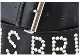 Sonia Rykiel Pre-owned Black Leather Rhinestone Embellished black Is Bright Belt.