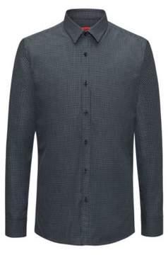 HUGO Boss Patterned Cotton Dress Shirt, Extra Slim Fit Elisha 15 Black