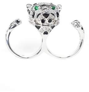 Kenneth Jay Lane Round CZ Double Finger Leopard Ring