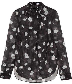 Carven Pussy-bow Floral-print Chiffon Blouse - Black