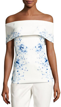Camilla And Marc Mayflower Off-the-Shoulder Floral Ponte Top, White