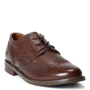 Ralph Lauren Leather Wing-Tip Oxford Shoe Brown Leather 4.5