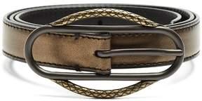 Bottega Veneta Intrecciato-buckle skinny leather waist belt