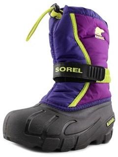 Sorel Flurry Youth Round Toe Canvas Purple Snow Boot.