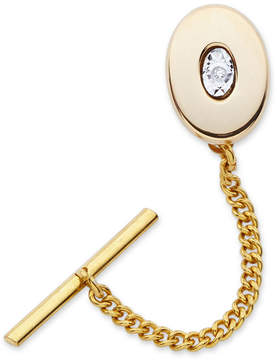 Asstd National Brand Gold-Plated Polished Tie Tack with Diamond Accent