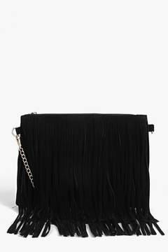 boohoo Kate Fringed Loop Chain Strap Cross Body Bag