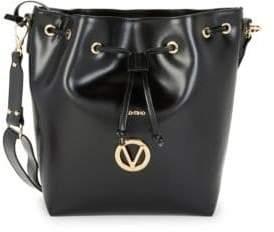 Mario Valentino Appoline Drawstring Leather Bucket Bag