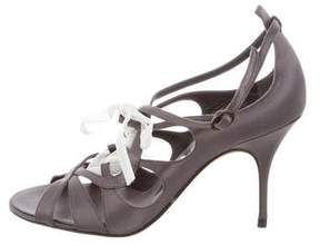 Nina Ricci Satin Lace-Up Sandals