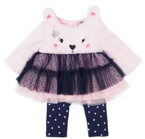 Little Lass Baby Girl Bear Skirted Plush Top & Leggings Set