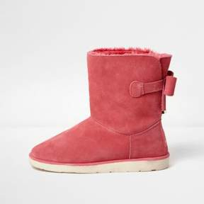 River Island Womens Pink bow back faux fur lined ankle boots