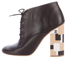 Chanel Leather Lace-Up Ankle Boots