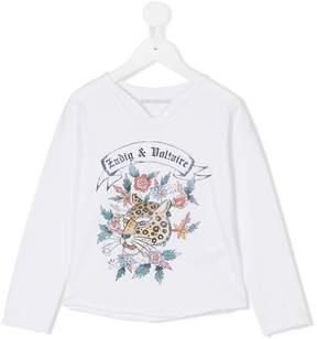 Zadig & Voltaire Kids logo print longsleeved T-shirt