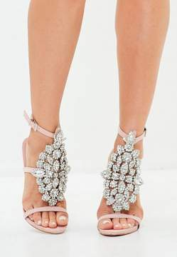 Missguided Pink Ankle Height Embellished Sandals