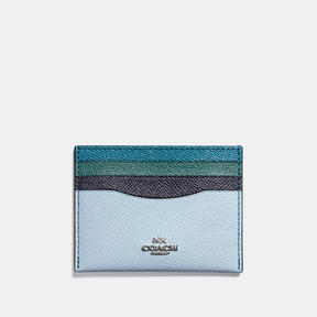 COACH Coach Flat Card Case In Colorblock - SILVER/NAVY MULTI - STYLE