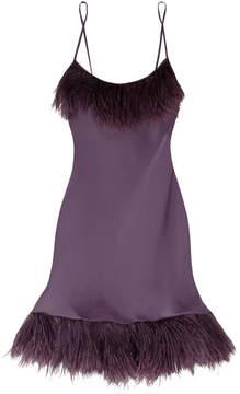 Carine Gilson Feather-trimmed Silk-satin Chemise - Grape