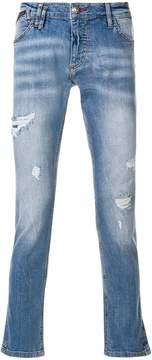 Philipp Plein distressed super straight-cut jeans