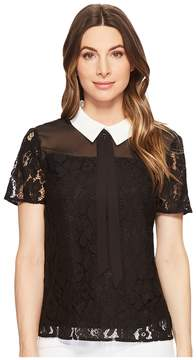 CeCe Short Sleeve Two-Tone Floral Lace Top Women's Short Sleeve Pullover