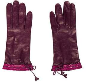 Neiman Marcus Embellished Leather Gloves