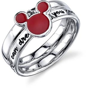 Disney Sterling Silver If You Can Dream It Mickey Mouse Ring with Red Enamel