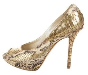 Christian Dior Metallic Snakeskin Pumps