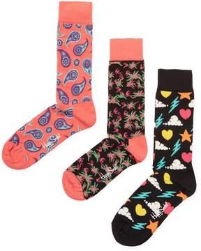 Happy Socks Men's Intarsia Ribbed Cuff Socks (3 PK)
