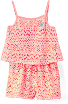 U.S. Polo Assn. Light Neon Coral Chevron Tiered Romper - Toddler