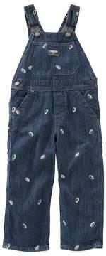 Osh Kosh Baby Boy Embroidered Football Denim Overalls