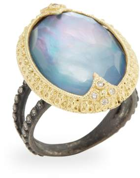Armenta Women's Old World 18K Yellow Gold, Silver, Quartz Triplet & 0.19 Total Ct. Diamond Carved Oval Ring