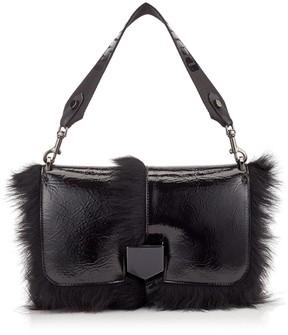 Jimmy Choo LOCKETT CITY Black Shiny Naplack Leather Shoulder Bag with Shearling and Logo Strap
